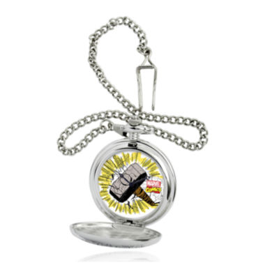 jcpenney.com | Marvel® Thor Hammer Mens Silver-Tone Pocket Watch