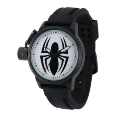jcpenney.com | Marvel® Black Spider Mens Black Silicone Strap Crown Protector Watch