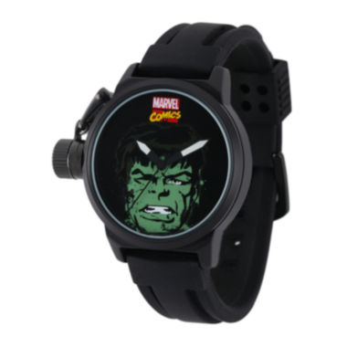 jcpenney.com | Marvel® Hulk Mens Black Silicone Strap Crown Protector Watch