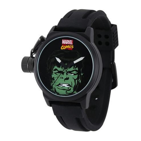 Marvel® Hulk Mens Black Silicone Strap Crown Protector Watch