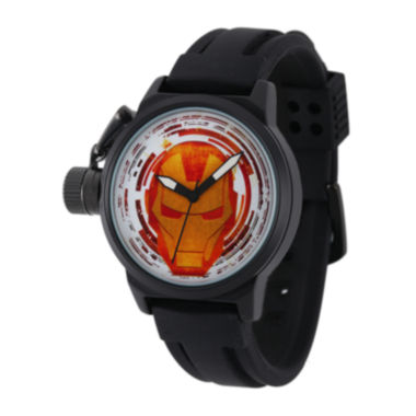 jcpenney.com | Marvel® Iron Man Mens Black Silicone Strap Crown Protector Watch