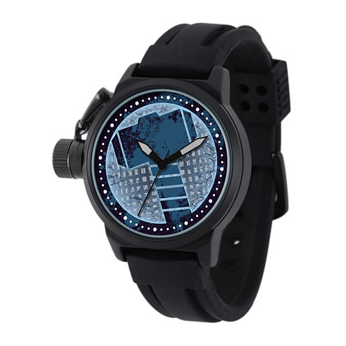 Marvel® Thor Mens Black Silicone Strap Crown Protector Watch