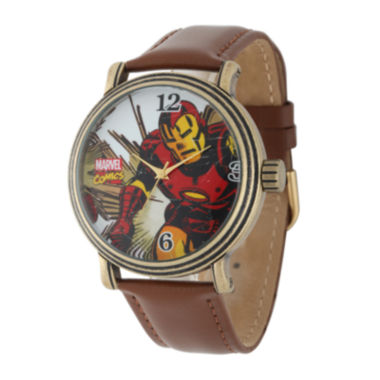 jcpenney.com | Marvel® Vintage Iron Man Mens Brown Leather Strap Watch