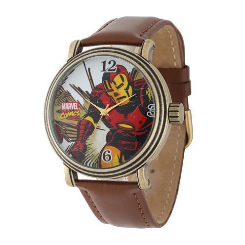 Marvel® Vintage Iron Man Mens Brown Leather Strap Watch
