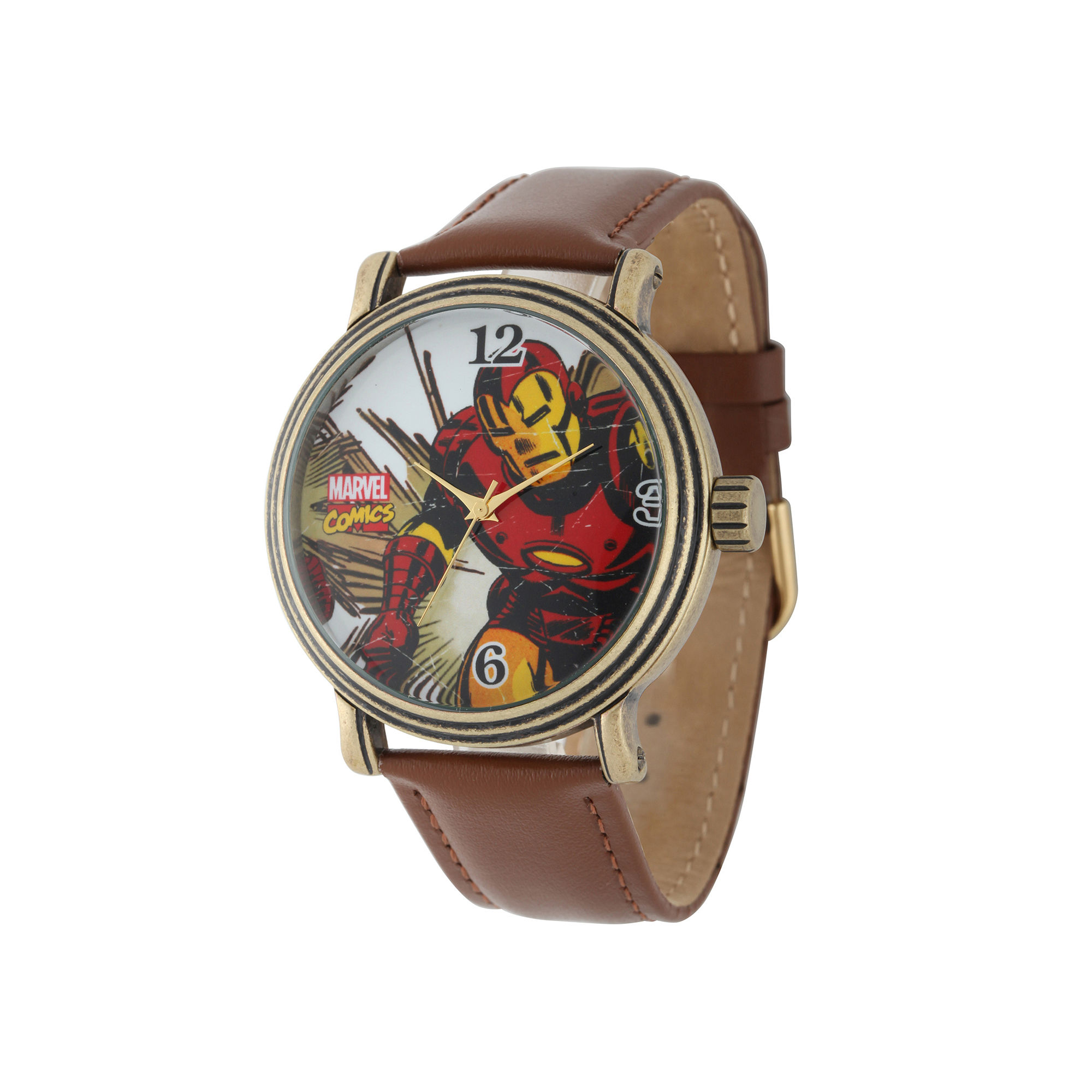 Marvel Vintage Iron Man Mens Brown Leather Strap Watch