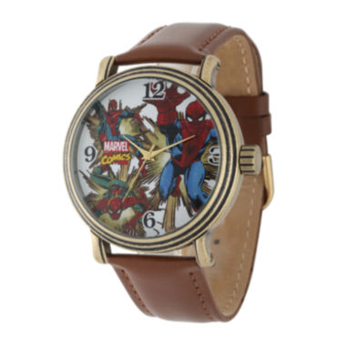 jcpenney.com | Marvel® Vintage Spider-Man® Mens Brown Leather Strap Watch