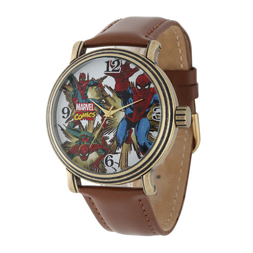 Marvel® Vintage Spider-Man® Mens Brown Leather Strap Watch