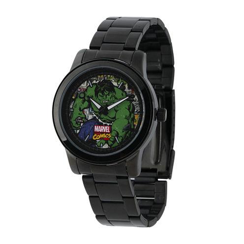 Marvel® Hulk Mens Black Stainless Steel Watch
