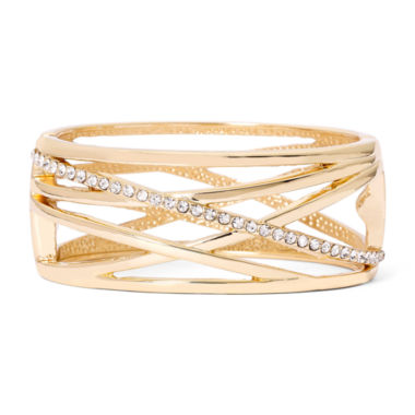jcpenney.com | Worthington® Crystal Cutout Gold-Tone Cuff Bracelet