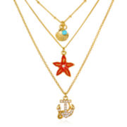 Delicates by PALOMA & ELLIE Sea Life Three-Row Gold-Tone Pendant Necklace