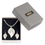 Mixit™ White Leaf Pendant Necklace and Earring Set