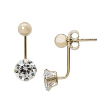 jcpenney.com | Cubic Zirconia and 14K Yellow Gold Ball Front-To-Back Stud Earrings