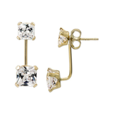 jcpenney.com | Princess-Cut Cubic Zirconia 14K Yellow Gold Front-To-Back Stud Earrings