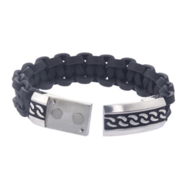 jcpenney.com | Mens Stainless Steel and Black Leather ID Bracelet