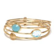 ATHRA Aqua Stone Sea Life Four-Row Bangle Bracelet