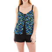 Delta Burke® Flyaway Tankini Swim Top or Flare-Leg Shorts - Plus