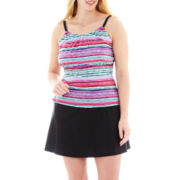 St. John's Bay® High-Neck Tankini Swim Top or Skirted Bottoms - Plus
