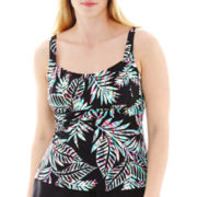 St. John's Bay® Palm Print Peasant Tankini Swim Top - Plus