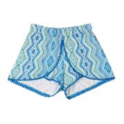 by&by Girl Pom Pom-Trim Print Shorts – Girls 7-16
