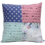 Script Patchwork Decorative Pillow