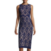 DJ Jaz Sleeveless Lace Mesh-Side Sheath Dress