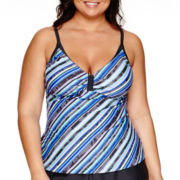 Free Country® Cabana Striped Sweetheart Tankini Swim Top - Plus