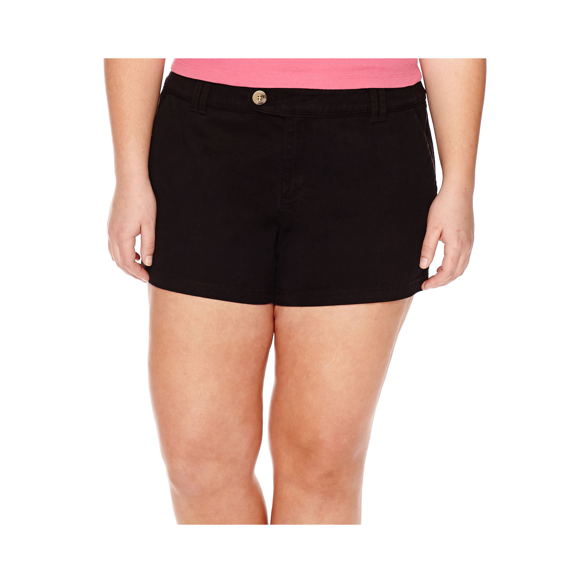 Arizona Cabo Mid-Rise Twill Shorty Shorts - Juniors Plus plus size,  plus size fashion plus size appare