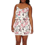 Decree® Crochet-Hem Romper - Plus