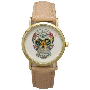 jcpenney.com | Olivia Pratt Womens Gold-Tone Skull Print Dial with Black Leather Strap Watch 14953