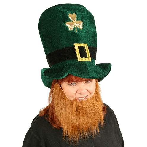 Plush Leprechaun Hat with Beard - One-Size