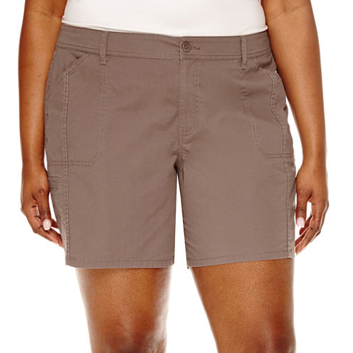 "St. John's Bay® Twill Cargo Shorts-Plus (7"")"