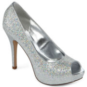 Worthington® Lara Glitter Peep-Toe Pumps