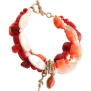 Art Smith by BARSE Red Gemstone & Bamboo Bracelet