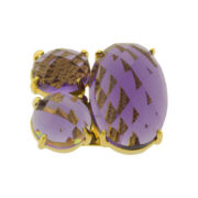 ATHRA Purple Resin 3-Stone Ring