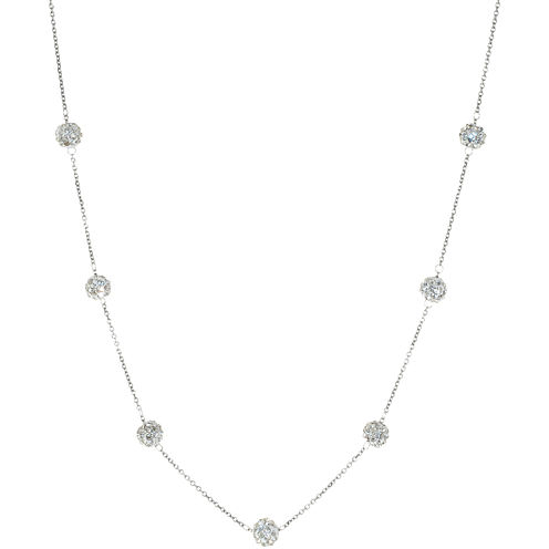 Sterling Silver Crystal Beaded Station Necklace