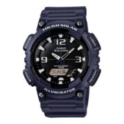 Casio® Mens Black Dial Blue Resin Strap Analog/Digital Solar Sport Watch