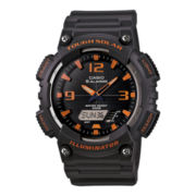 Casio® Mens Black Dial Gray Resin Strap Analog/Digital Solar Sport Watch