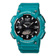Casio® Mens Black Dial Teal Resin Strap Analog/Digital Solar Sport Watch