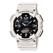 Casio® Mens Black Dial White Resin Strap Analog/Digital Solar Sport Watch