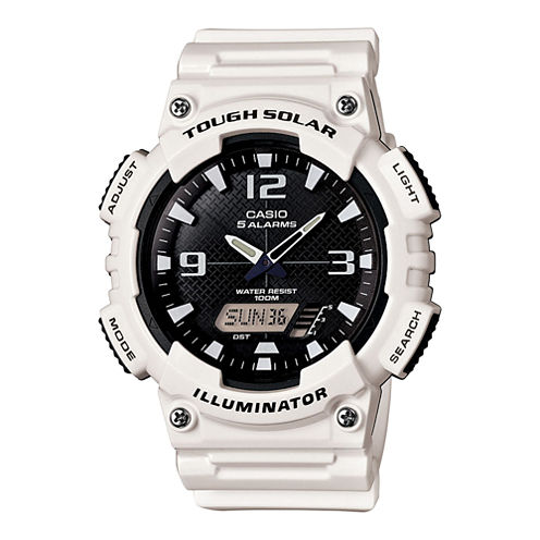Casio® Mens Black Dial White Resin Strap Solar Sport Watch AQ-S810WC-7A