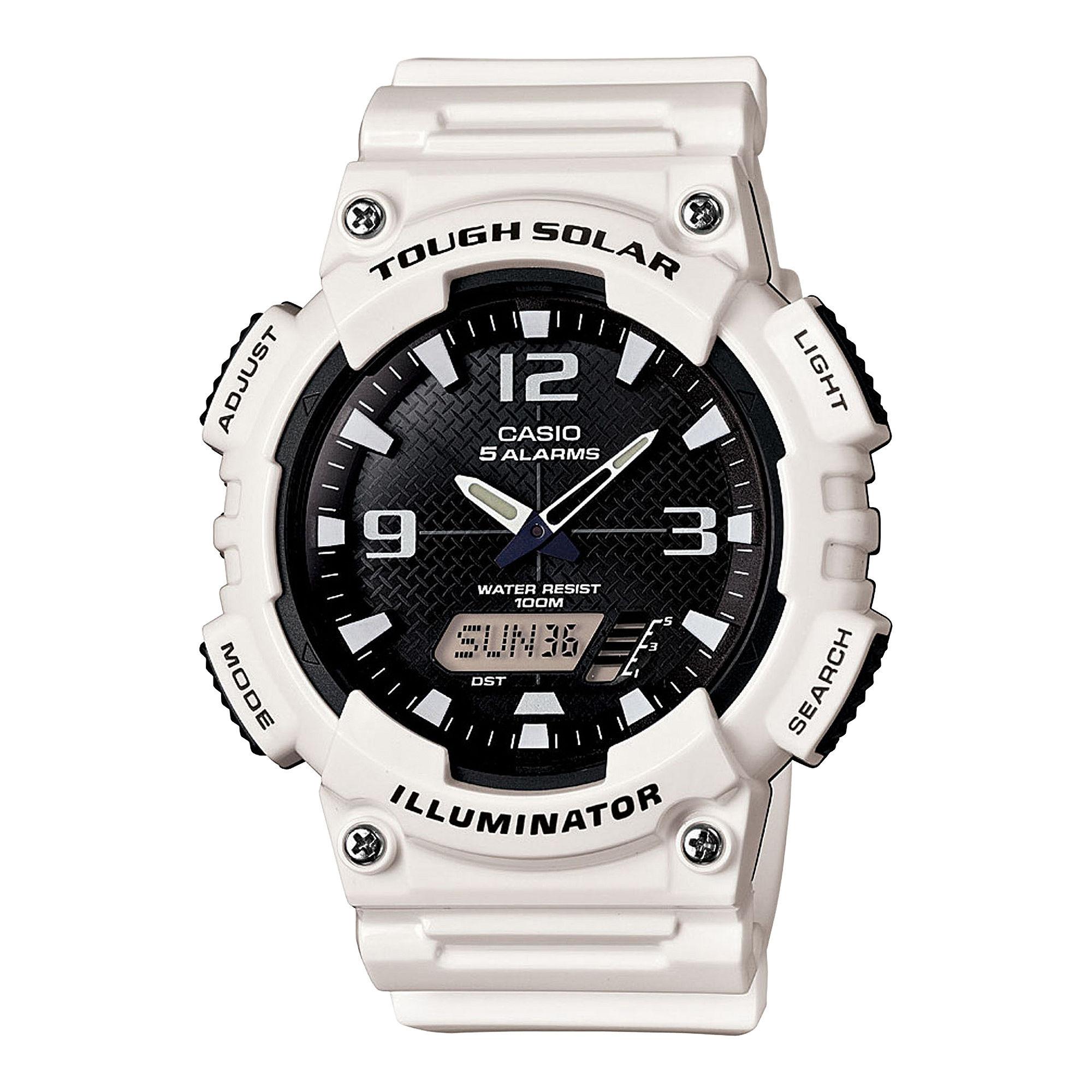 Casio Mens Black Dial White Resin Strap Solar Sport Watch AQ-S810WC-7A