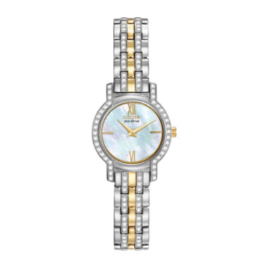 jcpenney.com | Citizen® Eco-Drive® Womens Crystal-Accent Two-Tone Stainless Steel Watch EX1244-51D
