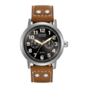 Citizen® Eco-Drive® Vintage Strap Mens Silver-Tone Brown Leather Watch AO9030-05E