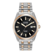 Citizen® Eco-Drive® Mens Black-Dial Two-Tone Watch BM7106-52E