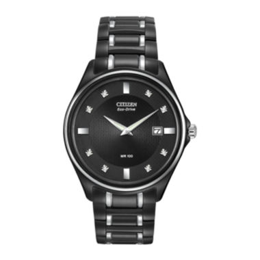 jcpenney.com | Citizen® Eco-Drive® Mens Diamond-Accent Black Stainless Steel Watch AU1054-54G