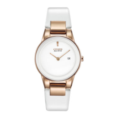 jcpenney.com | Citizen® Eco-Drive® Axiom Womens Rose-Tone White Leather Strap Watch GA1053-01A