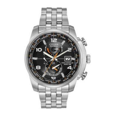 jcpenney.com | Citizen® Eco-Drive® World Time A-T Mens Silver-Tone Watch  AT9010-52E