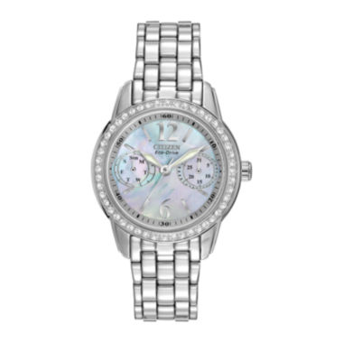 jcpenney.com | Citizen® Eco-Drive® Womens Silver-Tone Black Mother-of-Pearl Multifunction Watch FD1030-56Y