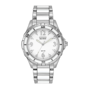 jcpenney.com | Citizen® Eco-Drive® Womens Diamond-Accent White Boyfriend Watch EM0030-59A