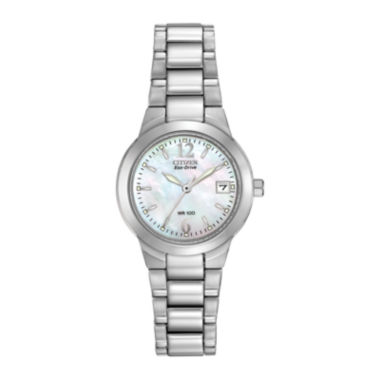 jcpenney.com | Citizen® Eco-Drive® Womens Silver-Tone Mother-of-Pearl Watch EW1670-59D